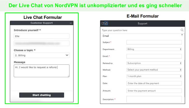 Screenshots einer NordVPN-Rückerstattungsanfrage per Live-Chat im Vergleich zu E-Mail