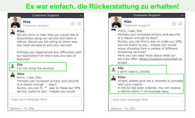 Screenshots einer Rückerstattungsanforderung im Live-Chat mit einem NordVPN-Kundendienstmitarbeiter.