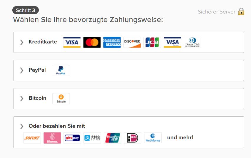 Screenshot der Zahlungsoptionen auf der ExpressVPN-Seite, einschließlich Kreditkarte, PayPal und Bitcoin