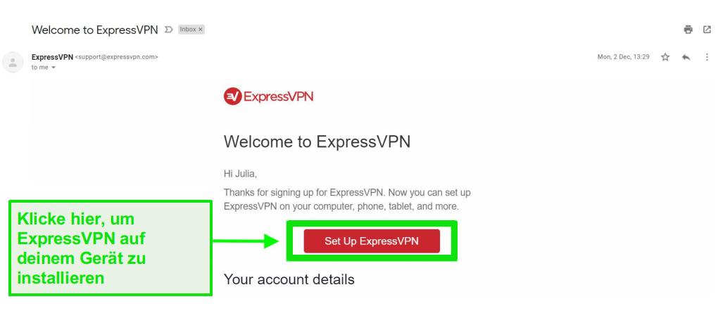 Screenshot der ExpressVPN-Begrüßungs-E-Mail mit Informationen zur Kontoeinrichtung