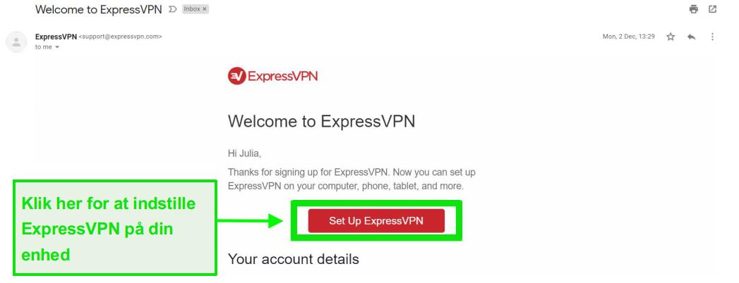Skærmbillede af ExpressVPN-velkomst-e-mail med information om kontopsætning