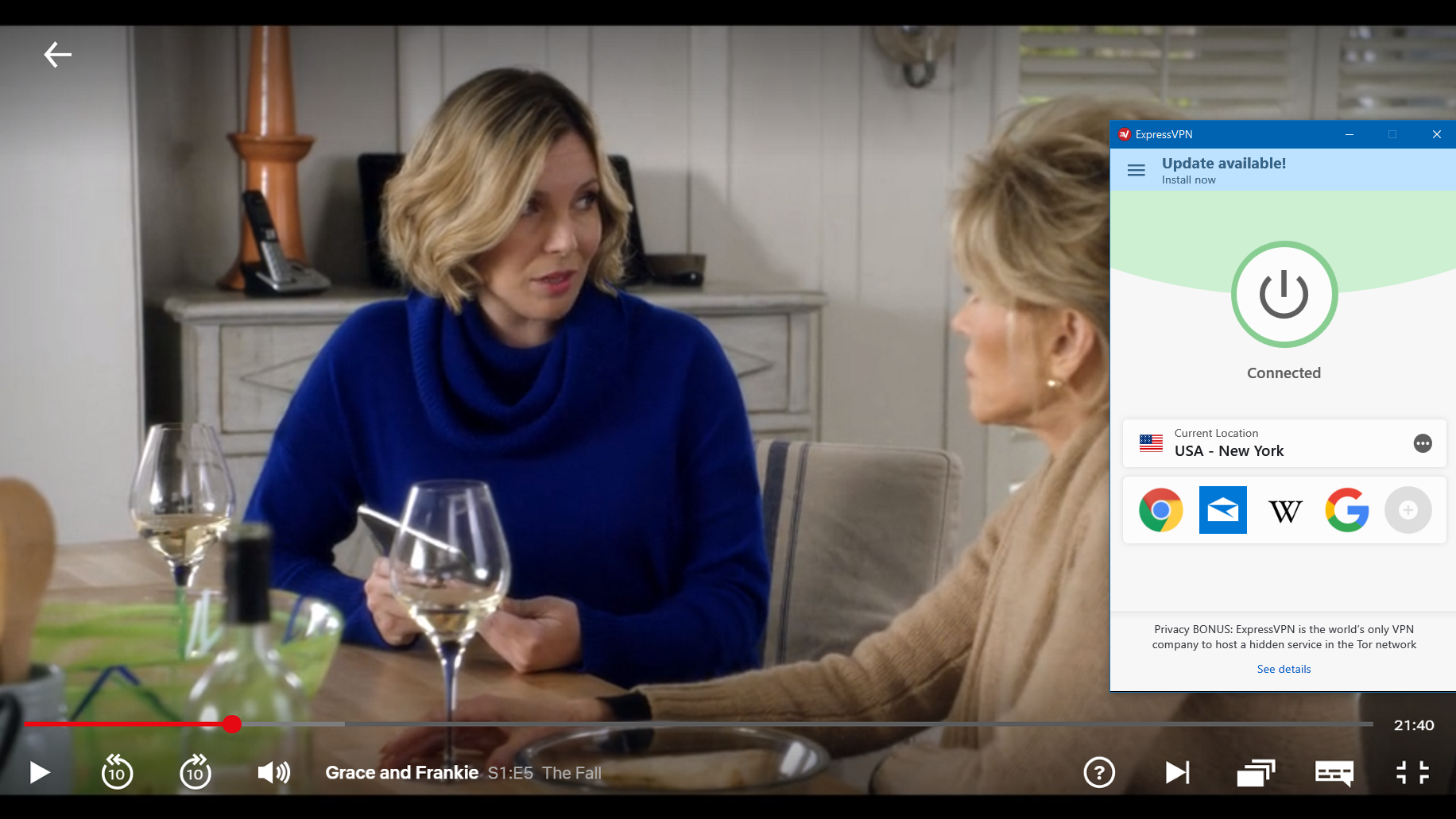 screenshot of Grace and Frankie playing on netflix with expressvpn