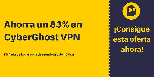 Gráfico de un cupón de CyberGhost VPN en funcionamiento que ofrece un 83% de descuento y 3 meses gratis con una garantía de devolución de dinero de 45 días