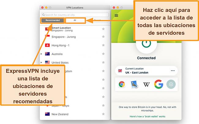 Captura de pantalla de la lista de servidores de la aplicación ExpressVPN