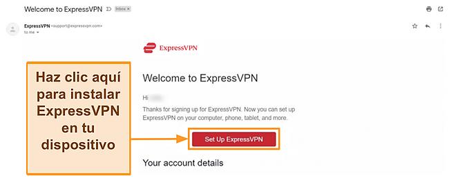 Captura de pantalla del correo electrónico de bienvenida de ExpressVPN a nuevos clientes con instrucciones de configuración