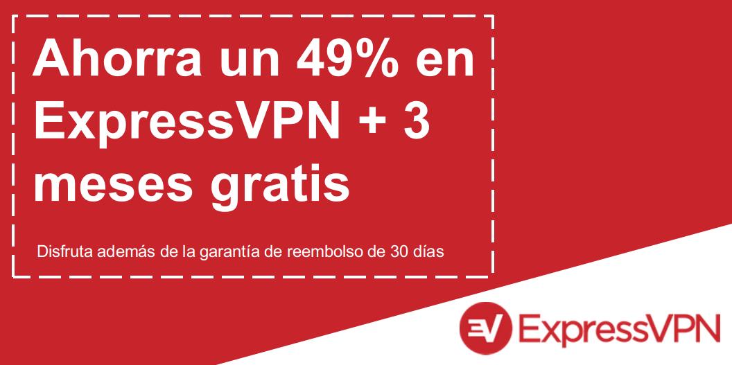 Gráfico de un cupón válido de ExpressVPN que ofrece 49% de descuento y 3 meses gratis con una garantía de devolución de dinero de 30 días