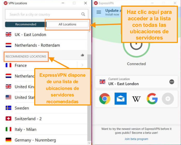 Captura de pantalla de la interfaz ExpressVPN con la lista de servidores