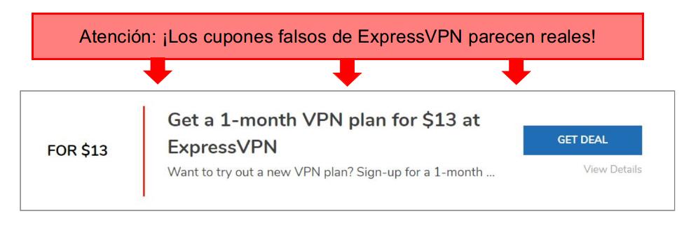 captura de pantalla con anotaciones de un cupón falso expressvpn