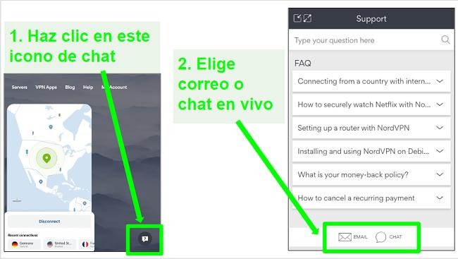 Capturas de pantalla de las opciones de solicitud de reembolso de NordVPN a través de chat en vivo o correo electrónico