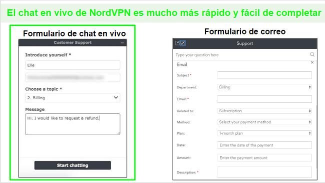 Capturas de pantalla de una solicitud de reembolso de NordVPN a través del chat en vivo en comparación con el correo electrónico