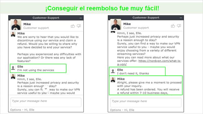 Capturas de pantalla de una solicitud de reembolso a través del chat en vivo con un agente de atención al cliente de NordVPN.