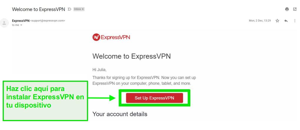 Captura de pantalla del correo electrónico de bienvenida de ExpressVPN con información de configuración de cuenta