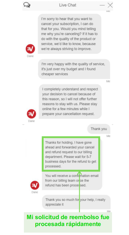 Captura de pantalla de una solicitud de reembolso de ExpressVPN a través del chat en vivo