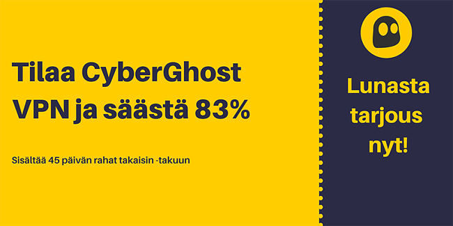 Graafinen kuva toimivasta CyberGhost VPN -kupongista, joka tarjoaa 83%: n alennuksen ja 3 kuukautta ilmaiseksi 45 päivän rahat takaisin -takuulla
