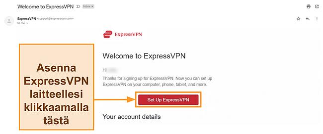 Näyttökuva ExpressVPN: n tervetulosähköpostista uusille asiakkaille asennusohjeilla