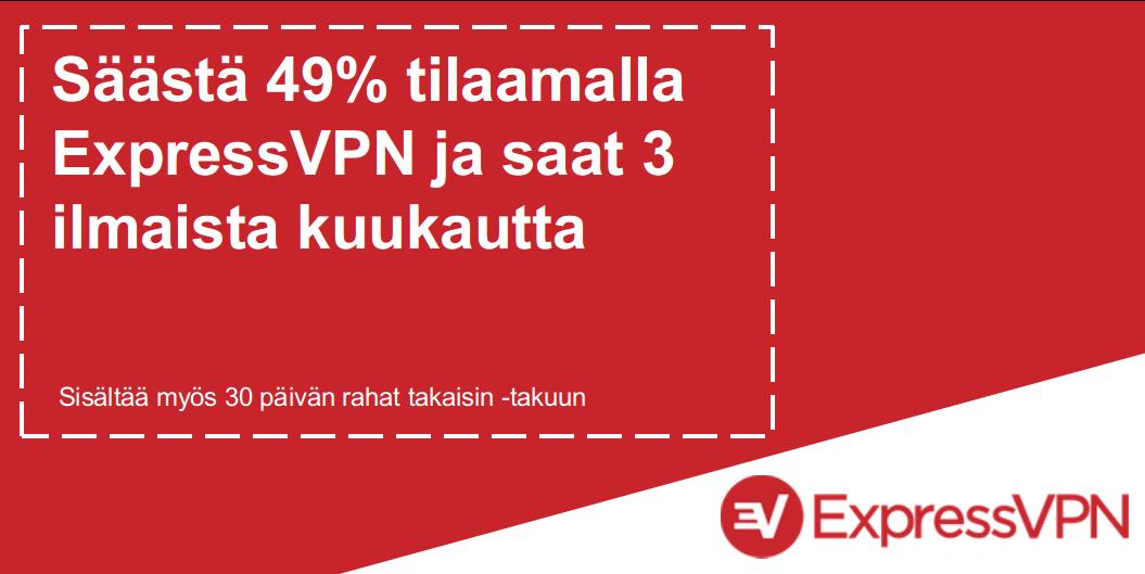 Grafiikka voimassa olevasta ExpressVPN-kuponkista, joka tarjoaa 49% alennuksen ja 3 kuukautta ilmaiseksi 30 päivän rahat takaisin -takuulla