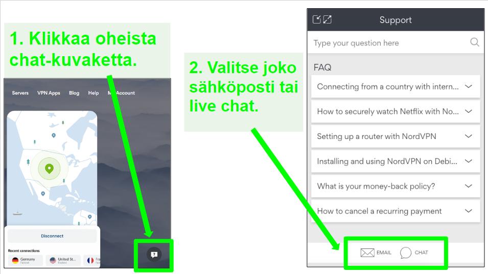 Näyttökuvat NordVPN-palautuspyyntövaihtoehdoista live-chatin tai sähköpostin kautta