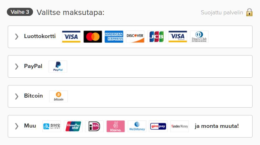 Kuvakaappaus ExpressVPN: n sivun maksutavoista, mukaan lukien luottokortti, PayPal ja Bitcoin
