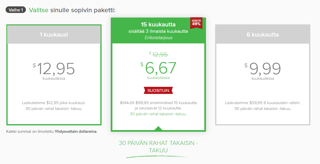 Kuvakaappaus tilaussuunnitelmista ExpressVPN: n piilotetulla kuponkisivulla