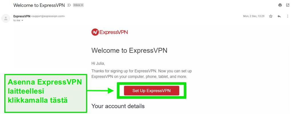 Kuvakaappaus ExpressVPN-tervetulossähköpostiviestistä tilin perustamistiedoilla