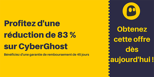 Graphique d'un coupon CyberGhost VPN fonctionnel offrant 83% de réduction et 3 mois gratuits avec une garantie de remboursement de 45 jours