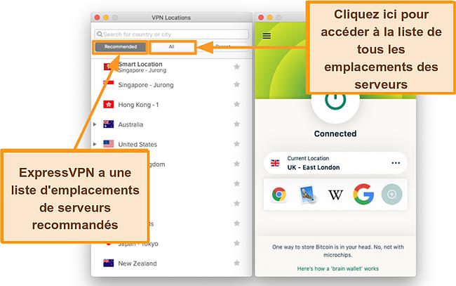 Capture d'écran de la liste des serveurs de l'application ExpressVPN