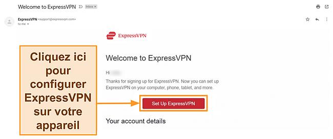 Capture d'écran de l'e-mail de bienvenue d'ExpressVPN aux nouveaux clients avec les instructions de configuration