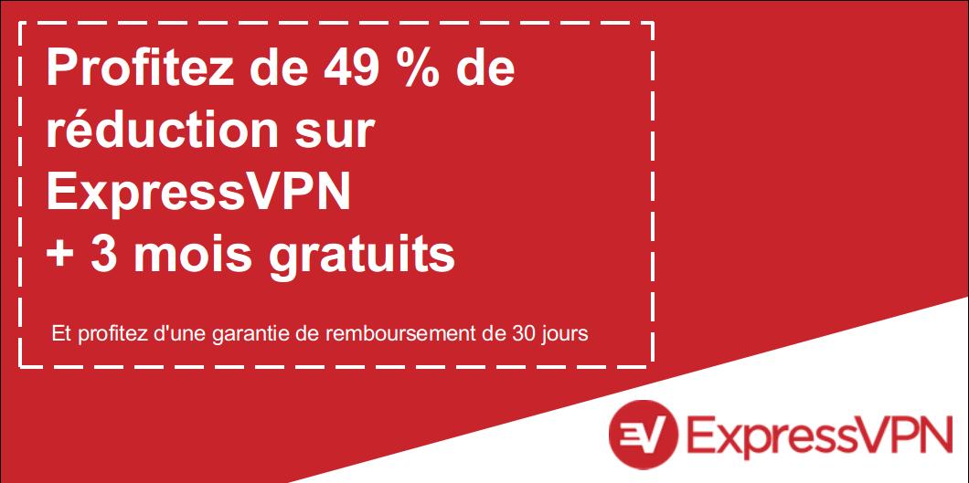 Graphique d'un coupon ExpressVPN valide offrant 49% de réduction et 3 mois gratuits avec une garantie de remboursement de 30 jours