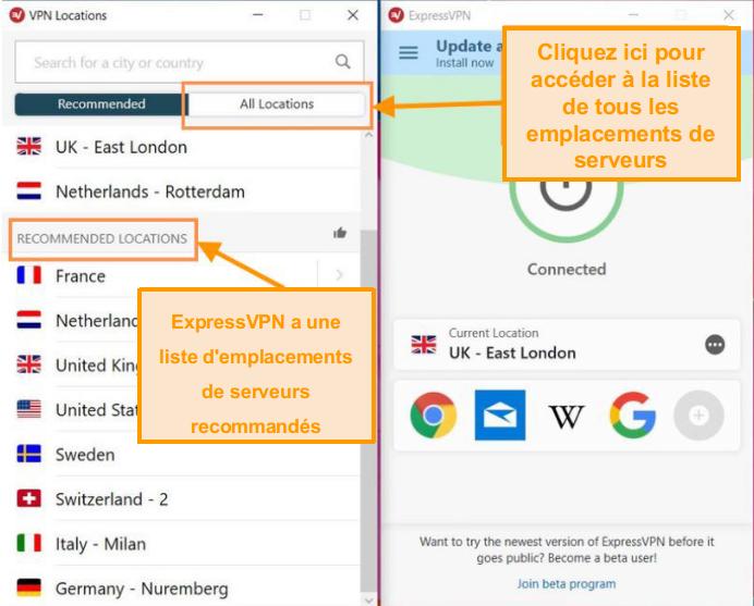 Capture d'écran de l'interface ExpressVPN avec la liste des serveurs