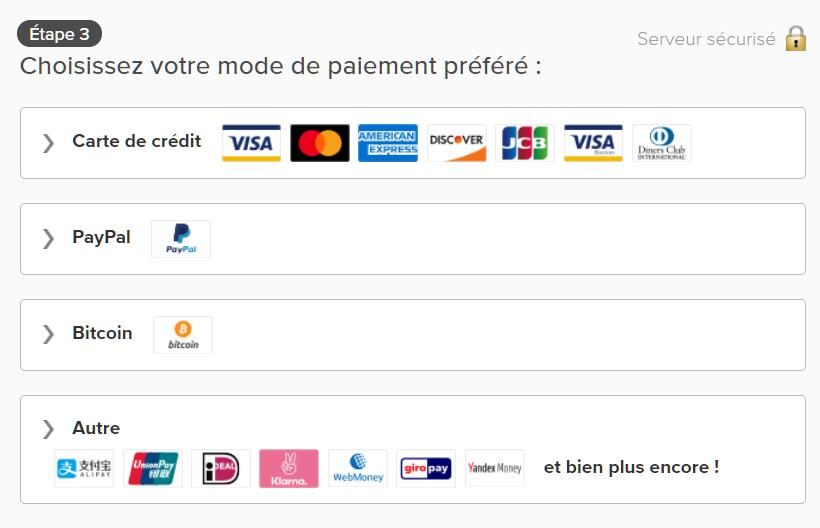 Capture d'écran des options de paiement sur la page d'ExpressVPN, y compris la carte de crédit, PayPal et Bitcoin