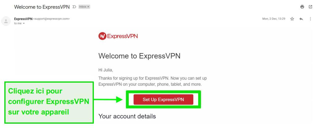 Capture d'écran de l'email de bienvenue d'ExpressVPN avec les informations de configuration du compte