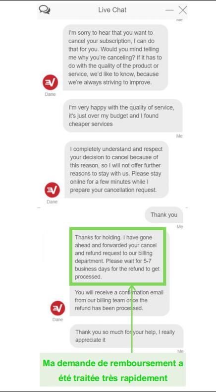 Capture d'écran d'une demande de remboursement ExpressVPN via le chat en direct
