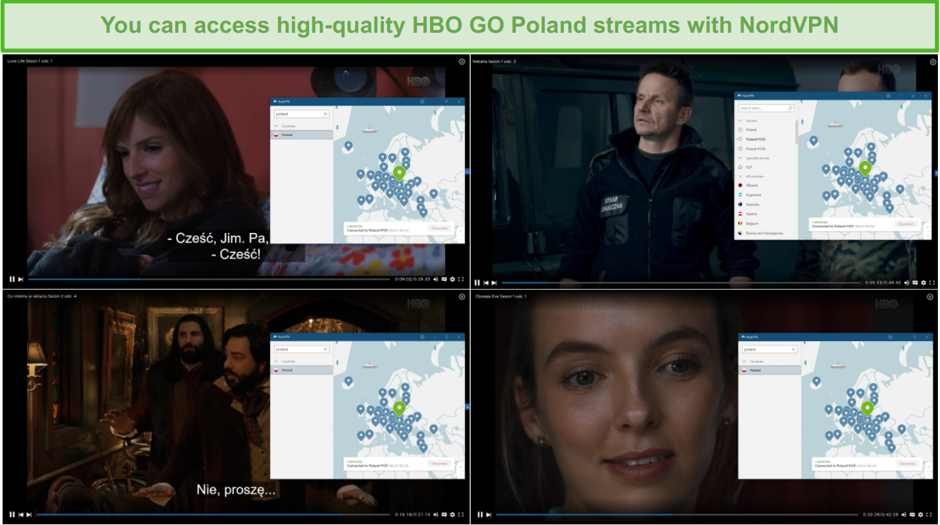 screenshot of movies shown on HBO GO Poland with NordVPN