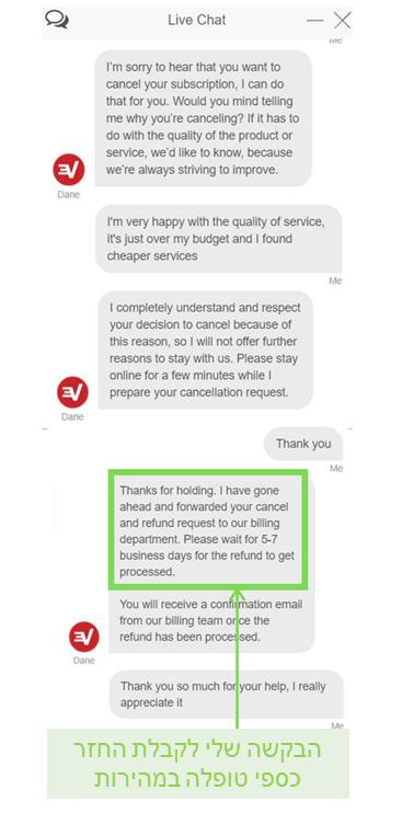 Screenshot of an ExpressVPN refund request via live chat