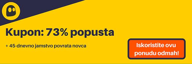 Grafika radnog CyberGhost VPN kupona koji nudi popust od 73%, što iznosi 3,49 USD mjesečno na dvogodišnjoj pretplati s jamstvom povrata novca od 45 dana