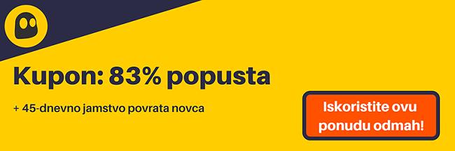 Grafika radnog CyberGhost VPN kupona koji nudi popust od 83%, što iznosi 2,25 USD mjesečno na trogodišnjoj pretplati s tri dodatna mjeseca besplatno i povratom novca od 45 dana