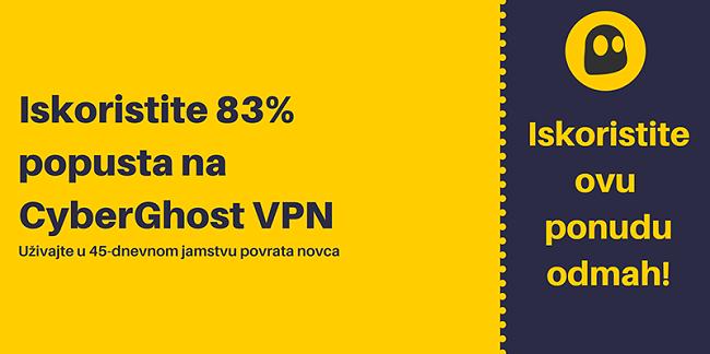 Grafika radnog CyberGhost VPN kupona koji nudi 83% popusta i 3 mjeseca besplatno uz 45-dnevno jamstvo povrata novca