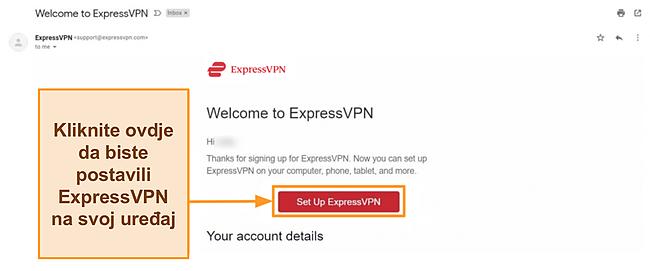 Snimka zaslona pozdravne e-pošte ExpressVPN-a novim kupcima s postavljenim uputama