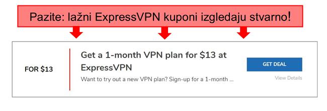 snimka zaslona s napomenama lažnog kupona expressvpn