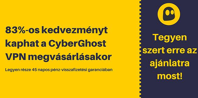 Egy működő CyberGhost VPN kupon grafikája, amely 83% -os kedvezménnyel és 3 hónapos ingyen kínál 45 napos pénzvisszafizetési garanciát