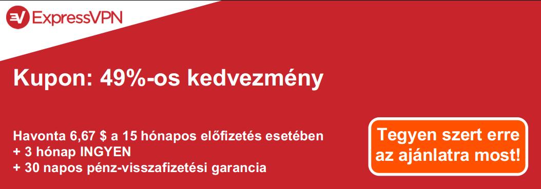 Az érvényes ExpressVPN kupon ábrája, amely 49% kedvezményt és 3 hónap ingyen 30 napos pénz-visszafizetési garanciát kínál