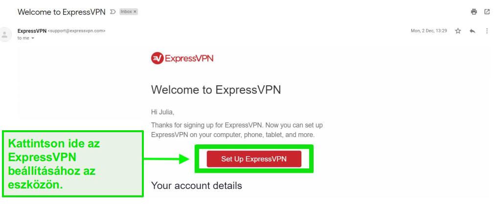 Az ExpressVPN üdvözlő e-mail képernyőképe a fiók beállítási információival