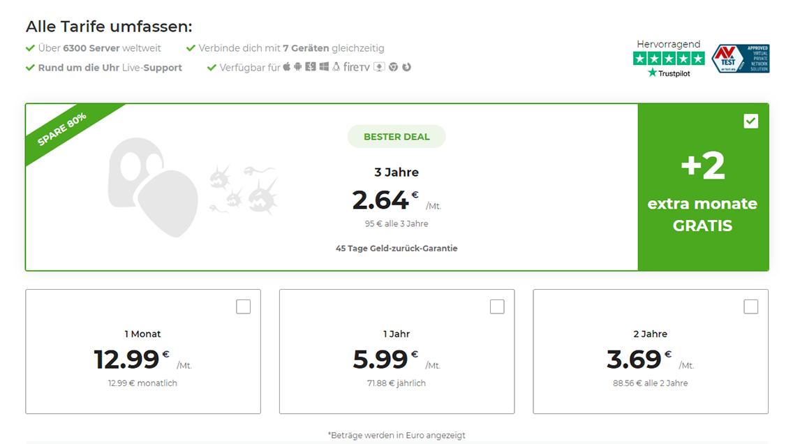 Screenshot der Zahlungspläne auf der Zahlungsseite von CyberGhost