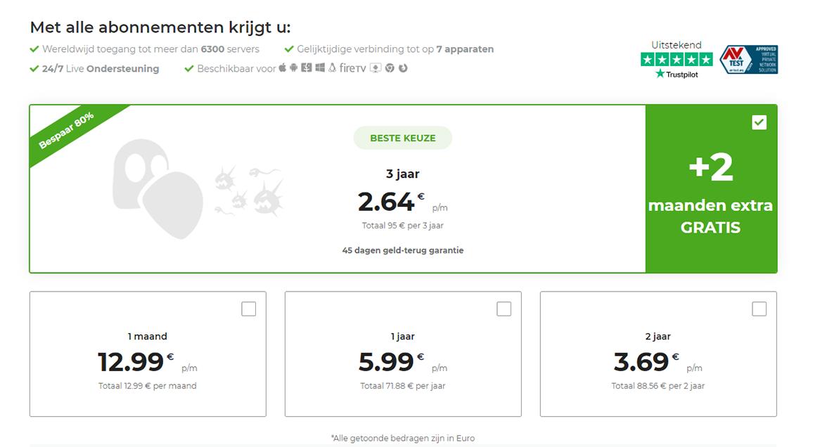 Screenshot van betalingsplannen op de betalingspagina van CyberGhost