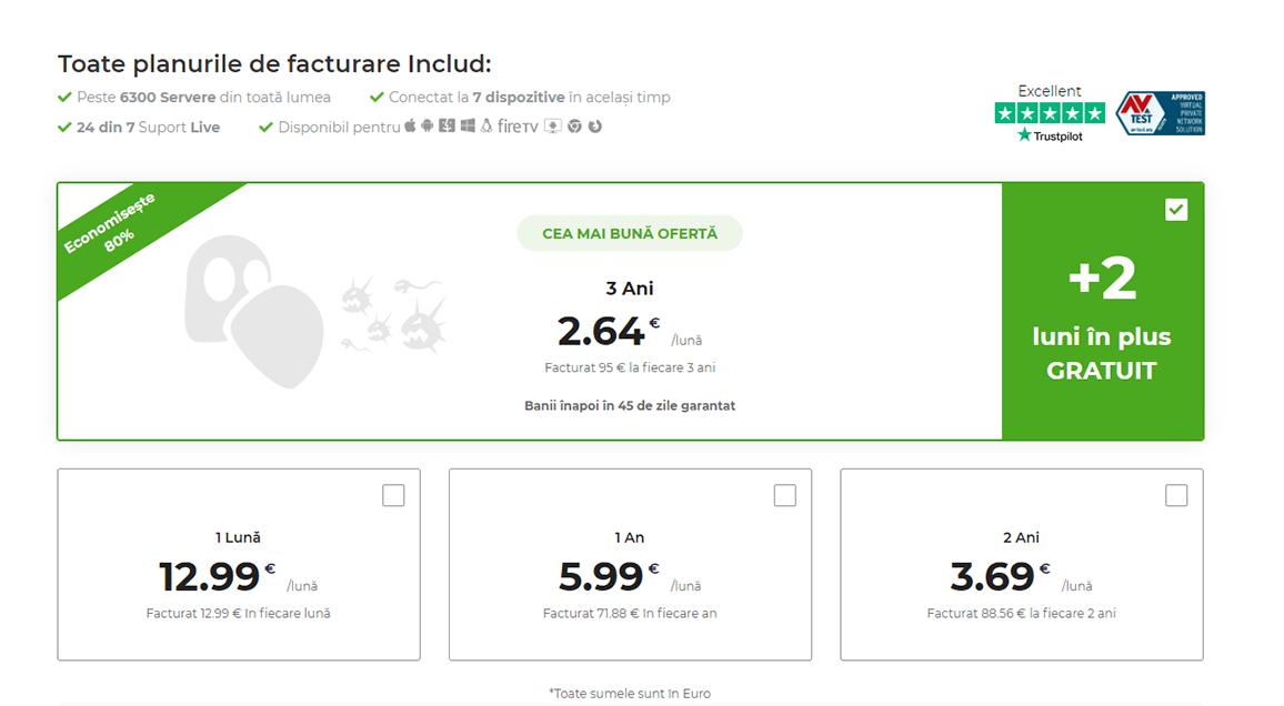 Captură de ecran a planurilor de plată pe pagina de plăți a CyberGhost