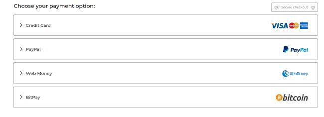 Знімок екрана варіантів оплати на платіжній сторінці CyberGhost, включаючи кредитну картку PayPal та BitPay