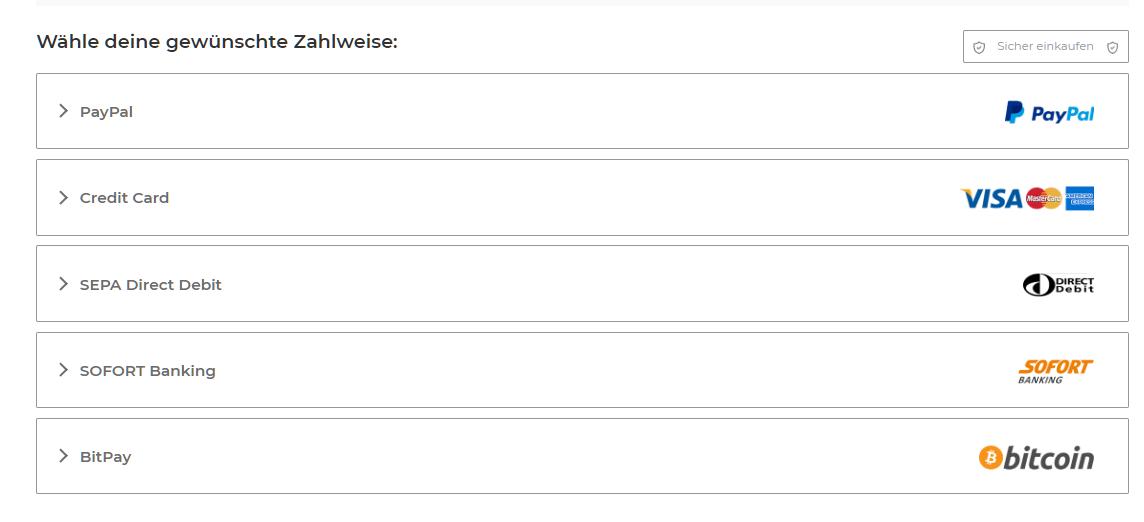 Screenshot der Zahlungsoptionen auf der Zahlungsseite von CyberGhost, einschließlich PayPal-Kreditkarte und BitPay