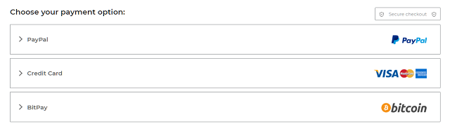 Pillanatkép a CyberGhost fizetési oldalán található fizetési lehetőségekről, beleértve a PayPal hitelkártyát és a BitPay-t