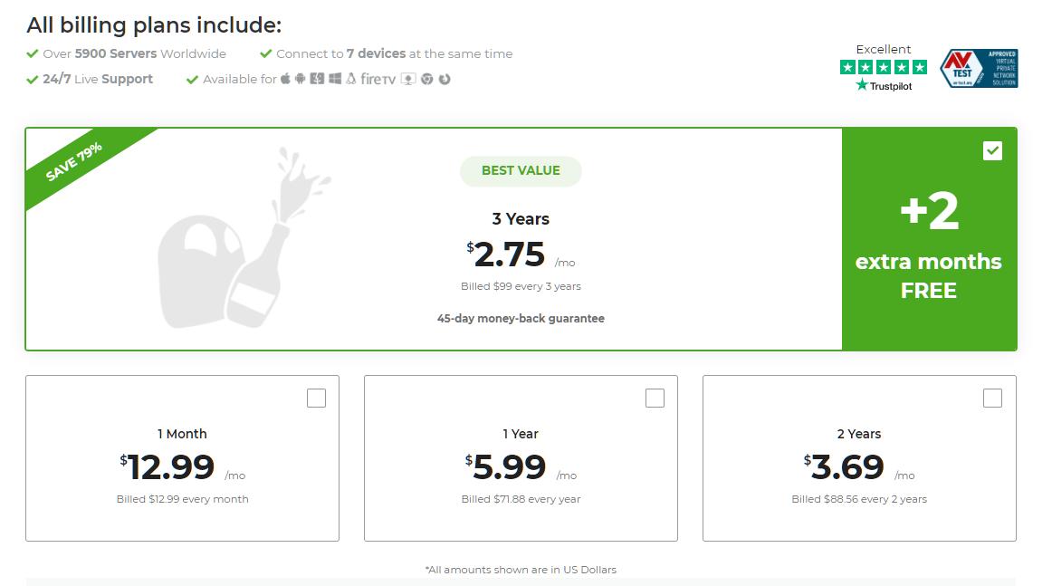 CyberGhost'un ödeme sayfasındaki ödeme planlarının ekran görüntüsü