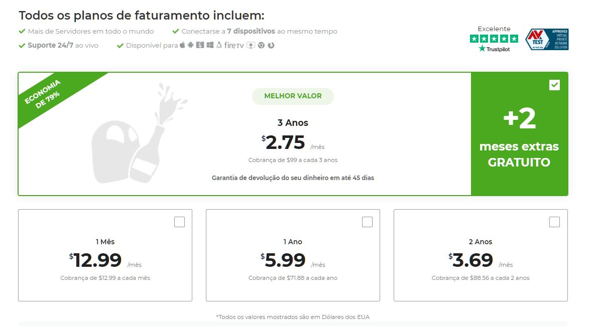 Captura de tela dos planos de pagamento na página de pagamento do CyberGhost